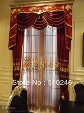 hot sale top grade stocklot ready made chenille embroidered red home window valance curtain