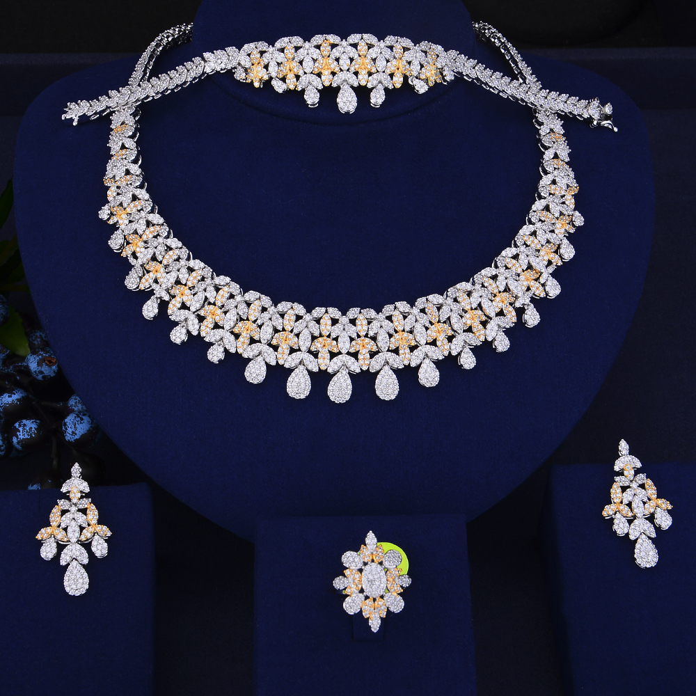 Luxury Teardrop Tassel Collar Necklace Earrings Bracelet Ring Jewelry Sets Cubic Zirconia Wedding Jewelry Sets For Women teardrop knitted fake collar necklace