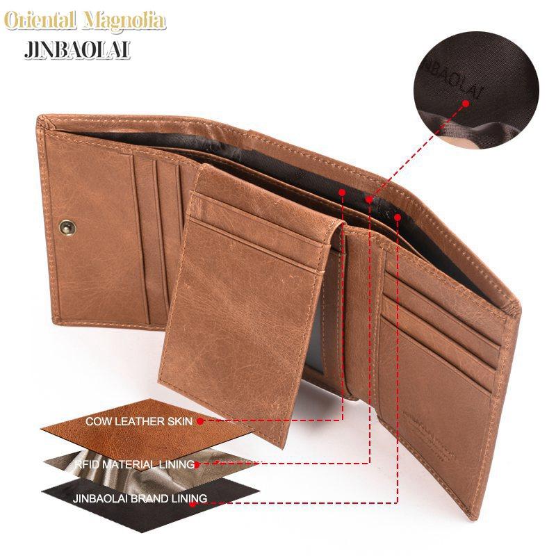 JINBAOLAI Mens Trifold Genuine Leather Wallet Vintage RFID Blocking Wallet Credit Cards Holder Organizer Wallet With Hasp Purse