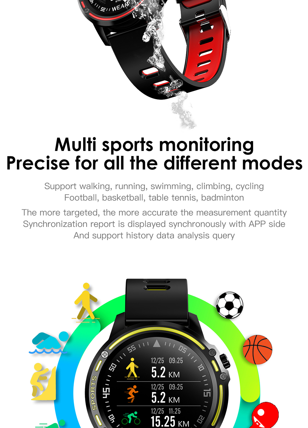 Red smart watch for men