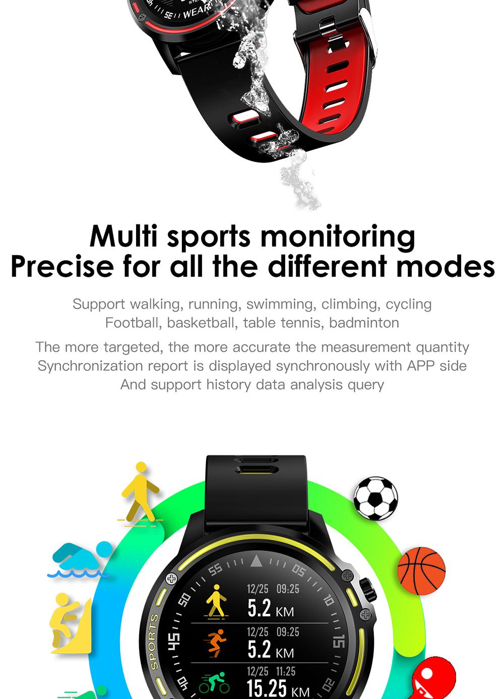 Reloj inteligente L8 IP68 para Hombre, Reloj inteligente resistente al agua con ECG presión arterial mediante PPG, relojes deportivos para fitness 7