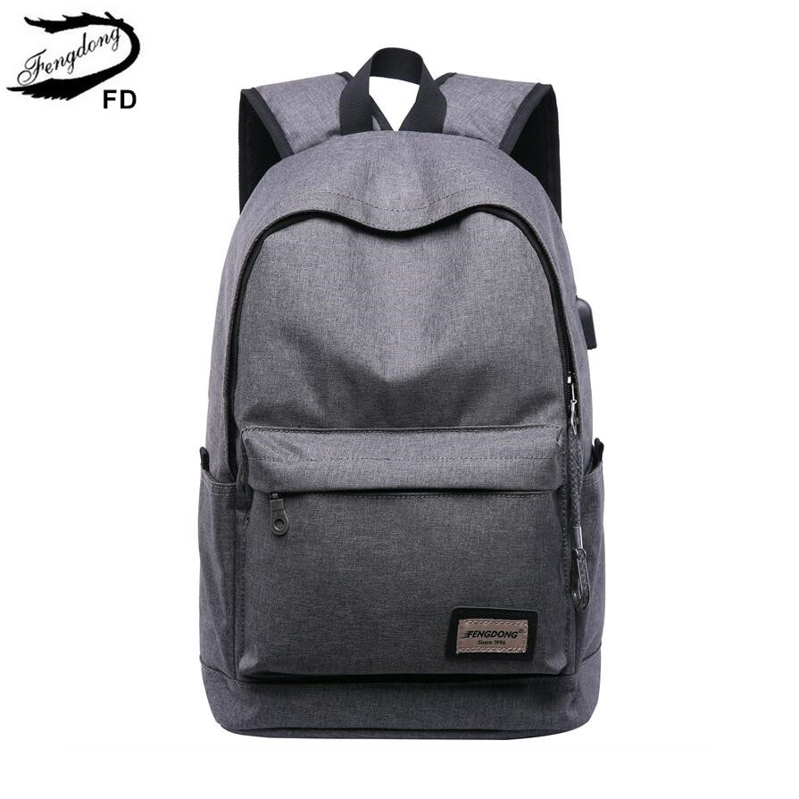 Fengdong Minimalist Smart Usb Backpack Kids School Backpack For Boy Bag Pack Men Anti Theft Travel Backpack For Laptop Schoolbag