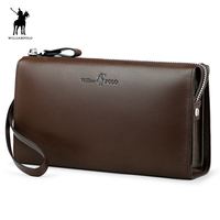 WilliamPOLO 2017 Fashion 100 Cow Leather Business Solid Zipper Long Mens Clutch Wallet With Cell Phone