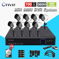 Video Surveillance System 8ch 960H Dvr NVR Onvif Kit Security Camera 700tvl Outdoor For Home Video