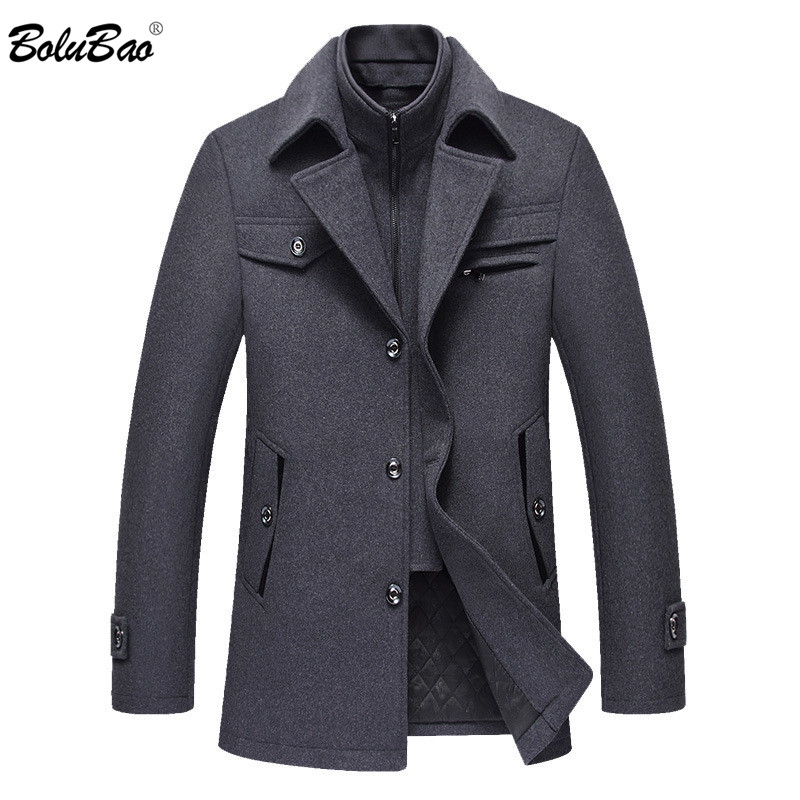 BOLUBAO Casual Brand Men Blends Coats Autumn Winter New High Quality Solid Color Men's Wool Coat Male Fashion Wool Coat Tops