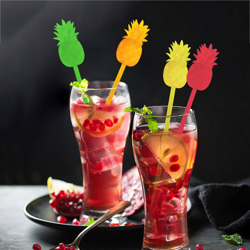 12pcs Pineapple Cocktail Swizzle Sticks Stirrer Coffee/Wine/Drink Muddler Puddler Party Kitchen Night-club Accessories