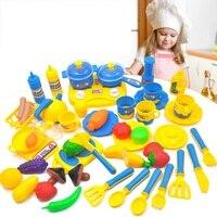 YARD 46 Pezzi Bambini Kitchen Set Pretend Gioca Cut Giocattolo frutta Verdura In Plastica Per Bambini Cuocere il Cibo Eduacation Gioco Bambini Cucina giocattolo