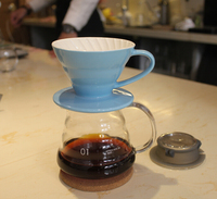Percolators 360ML Espresso Coffee Server + V60 Coffee Dripper Sets Brewer coffee ceramic filter and glass server