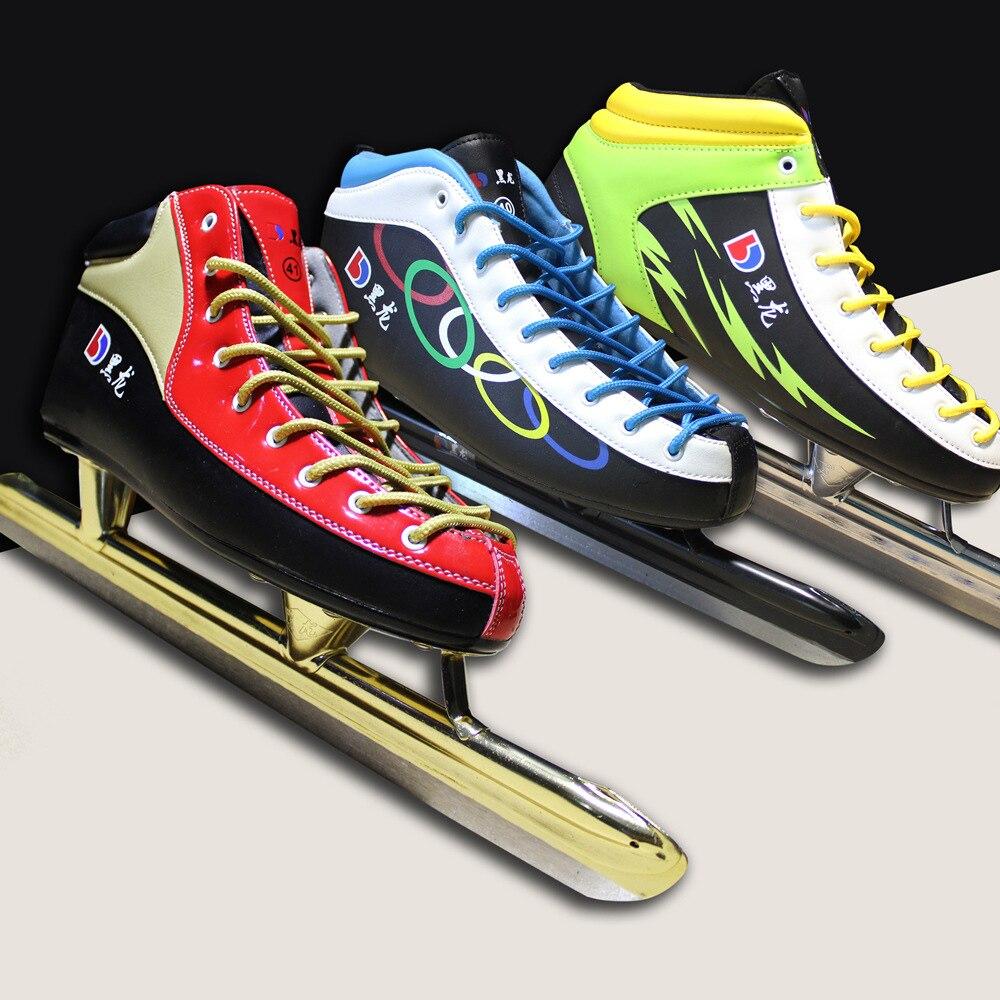 Здесь можно купить  Winter Adult Teenagers PU Professional Thermal Warm Ice Speed Skating Shoes With Ice Blade Comfortable Beginner Europe Size  Спорт и развлечения