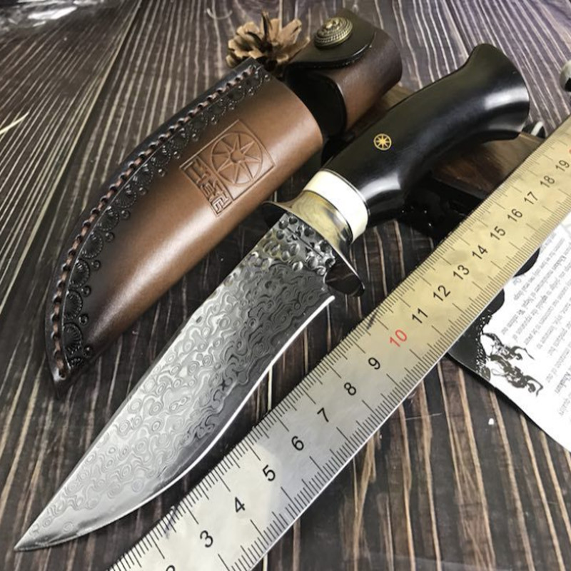 Handmade forged Damascus hunting knife fixed knife ebony handle Damascus Steel Straight knife
