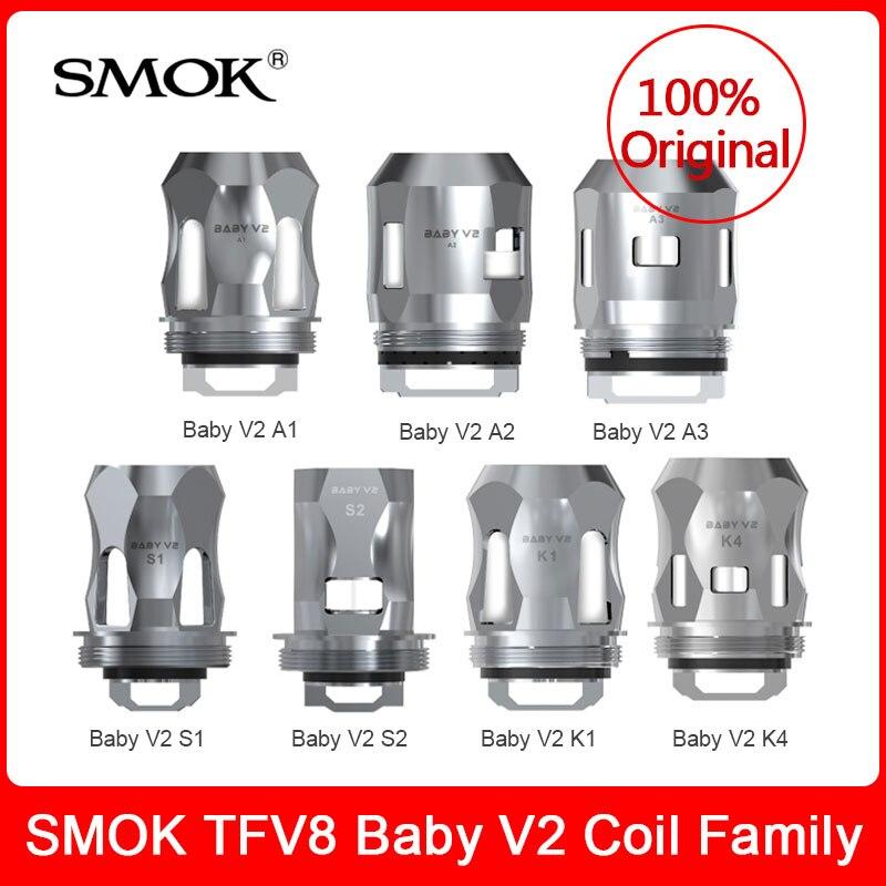 Bobines d'origine SMOK TFV8 Baby V2-bobines de remplacement A1/A2/A3/S1/S2/K1/K4 pour réservoir TFV8 Baby V2/tfv-mini V2 E-cigarette