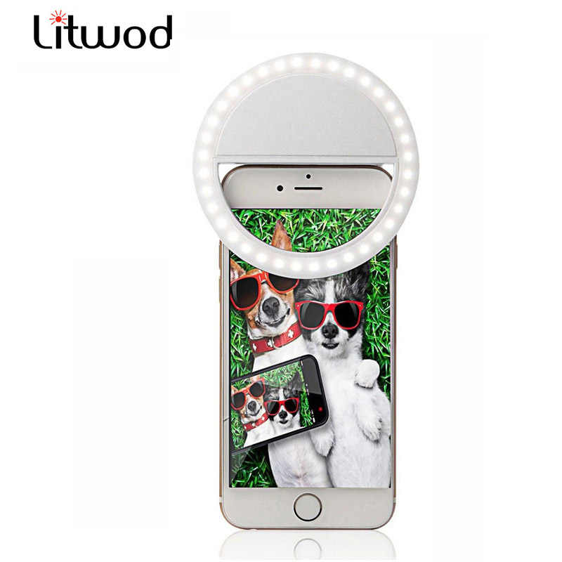 Litwod Z90 LED 3 modes adjusted Selfie Ring Flash Light Camera Enhancing Photography Luminous Lamp for iPhone HUAWEI one plus