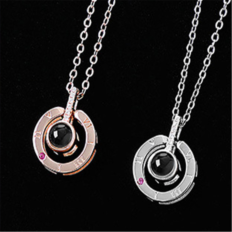 Dropshipping New Rose Gold Silver 100 Languages I Love You Projection Pendant Necklace Romantic Love Memory Wedding Necklace in Pendant Necklaces from Jewelry Accessories