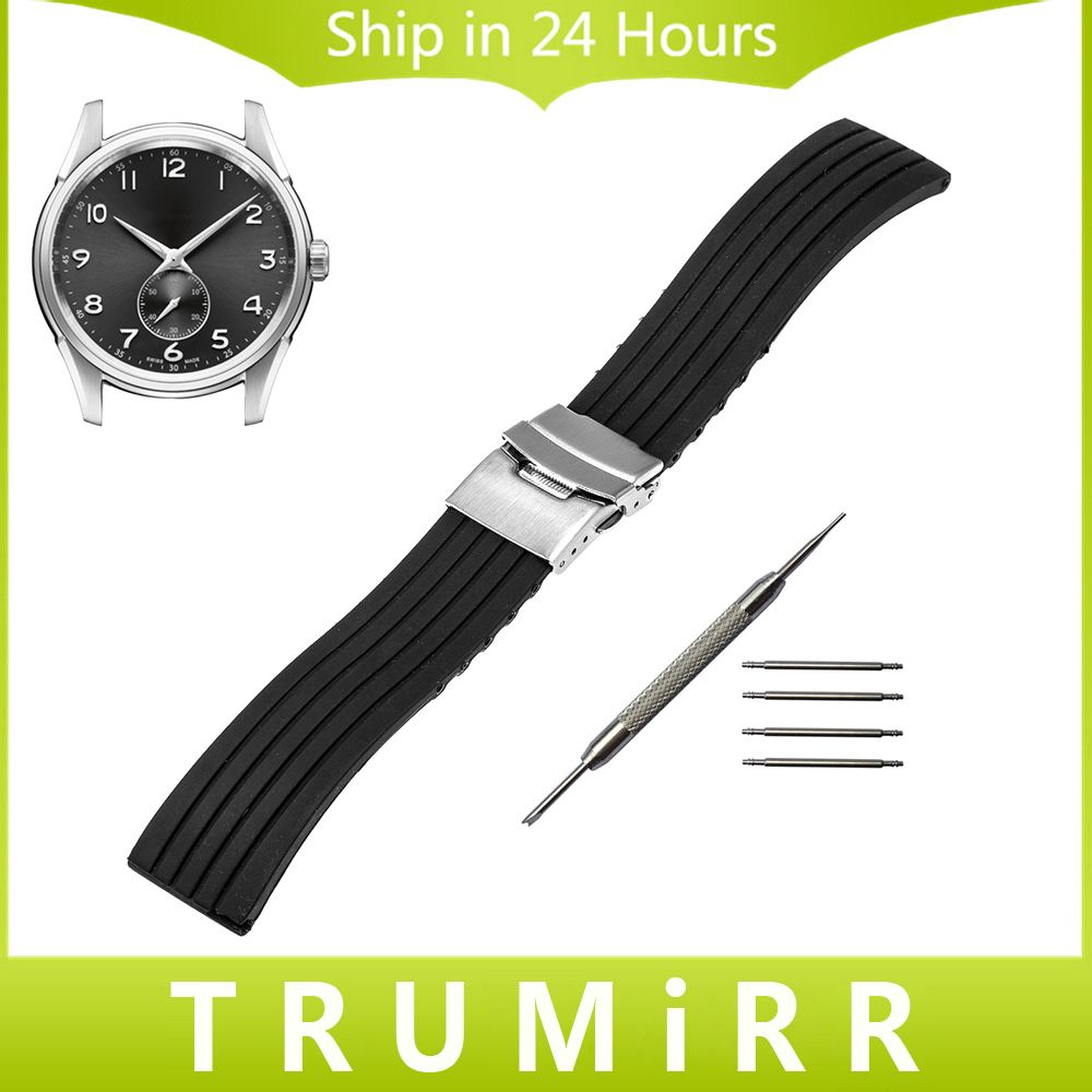 Silicone Rubber Watch Band for Hamilton Men Women Stainless Steel Safety Buckle Strap Wrist Bracelet Black 18mm 20mm 22mm 24mm 23mm 24mm silicone rubber watch band for tissot 1853 t035 t087 men stainless steel carved pattern buckle strap wrist bracelet