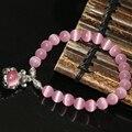 Бесплатная доставка оригинальный дизайн розовый опал кошачий глаз круглые бусины 8 мм браслеты милый мыши подвеска изготовление ювелирных изделий 7.5 inch B2169
