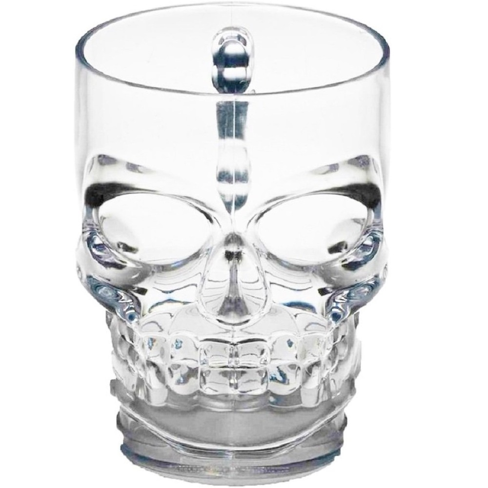 Clear Heavy Base Glass Skull Face Drinking Mug cup with Glass Handles, 18 Ounce (500ml)1 Beer Juice Water Drinking Glass(00280)