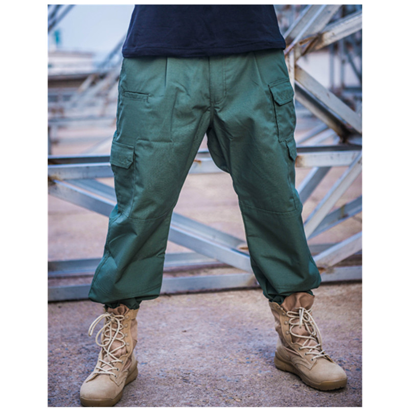 Outdoor Training Hiking Waterproof Loose Pocket Straight Tactical Trousers Plaid Fabric Water Repellent Ripstop Pants Overalls