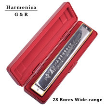 28 Bores/ Holes Octave-tuned Harmonica Woodwind Brand New Music Instrument for Beginners / Kids C Key Children Toy With Case
