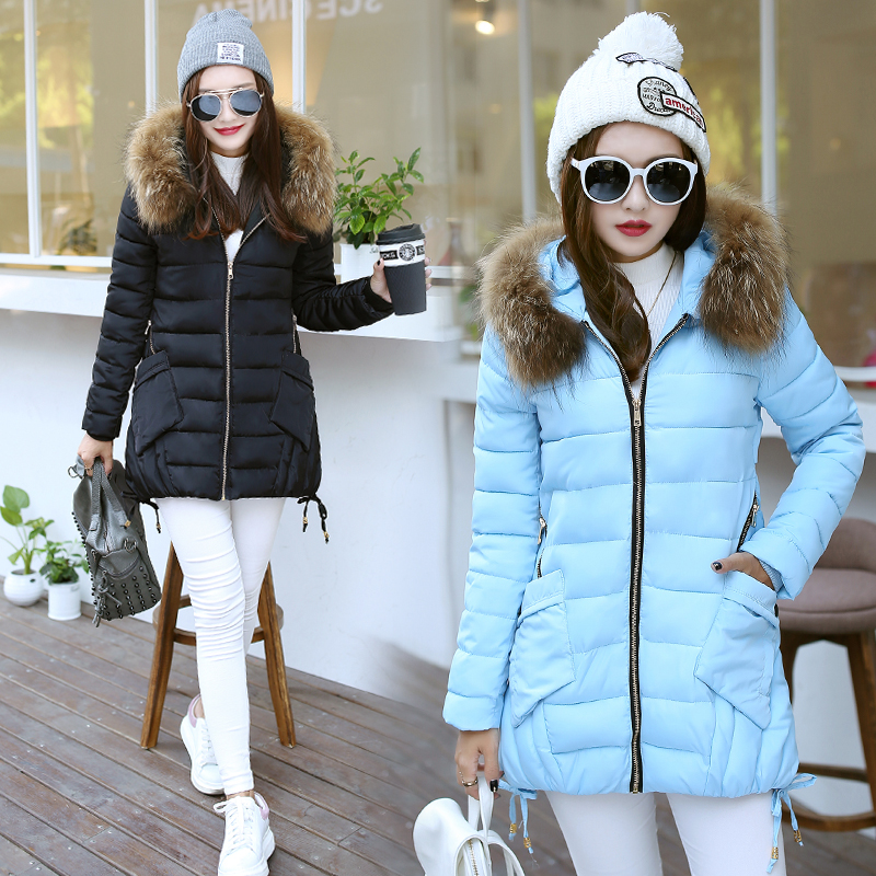 Подробнее о Hot 2017 Winter Hooded Casual Brand Women Fur Collar Basic Coat Cotton Padded Thick Outwear Warm Parka Female Long Jacket P909 men warm thick coats winter snow hooded fur collar slim fit parka brand casual cotton fashion padded outwear sl e438