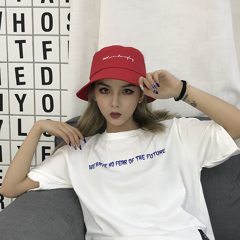 78873de9e61 New 2018 Men Women Bucket Hats Japan and Korea Street Style Harajuku  Letters Print Streamers Lace Up Cap Ladies Summer Sun Hat -in Bucket Hats  from Apparel ...