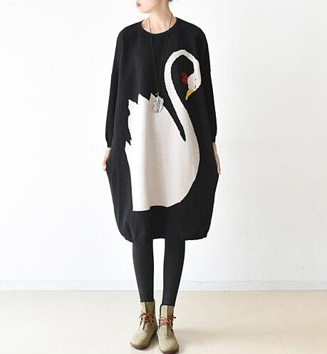 Animal Sweater Dress Vestidos 2017 Autumn Winter Women Casual Long Sleeve O-neck Knitted Dress Batwing Wool Mid-calf Dresses girl sweater dress superfine wool knitted dress 2015 o neck pocket long sweater tassels christmas children clothing kids dresses