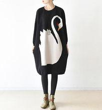 Животного Платья-свитеры Vestidos 2017 осень-зима Для женщин Повседневное с круглым вырезом и длинными рукавами вязаное платье Летучая мышь шерсть до середины икры Платья для женщин