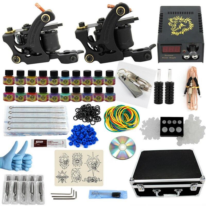 Professional Complete Equipment Tattoo kits Machine set 2 Gun 20 Color Inks font b Power b