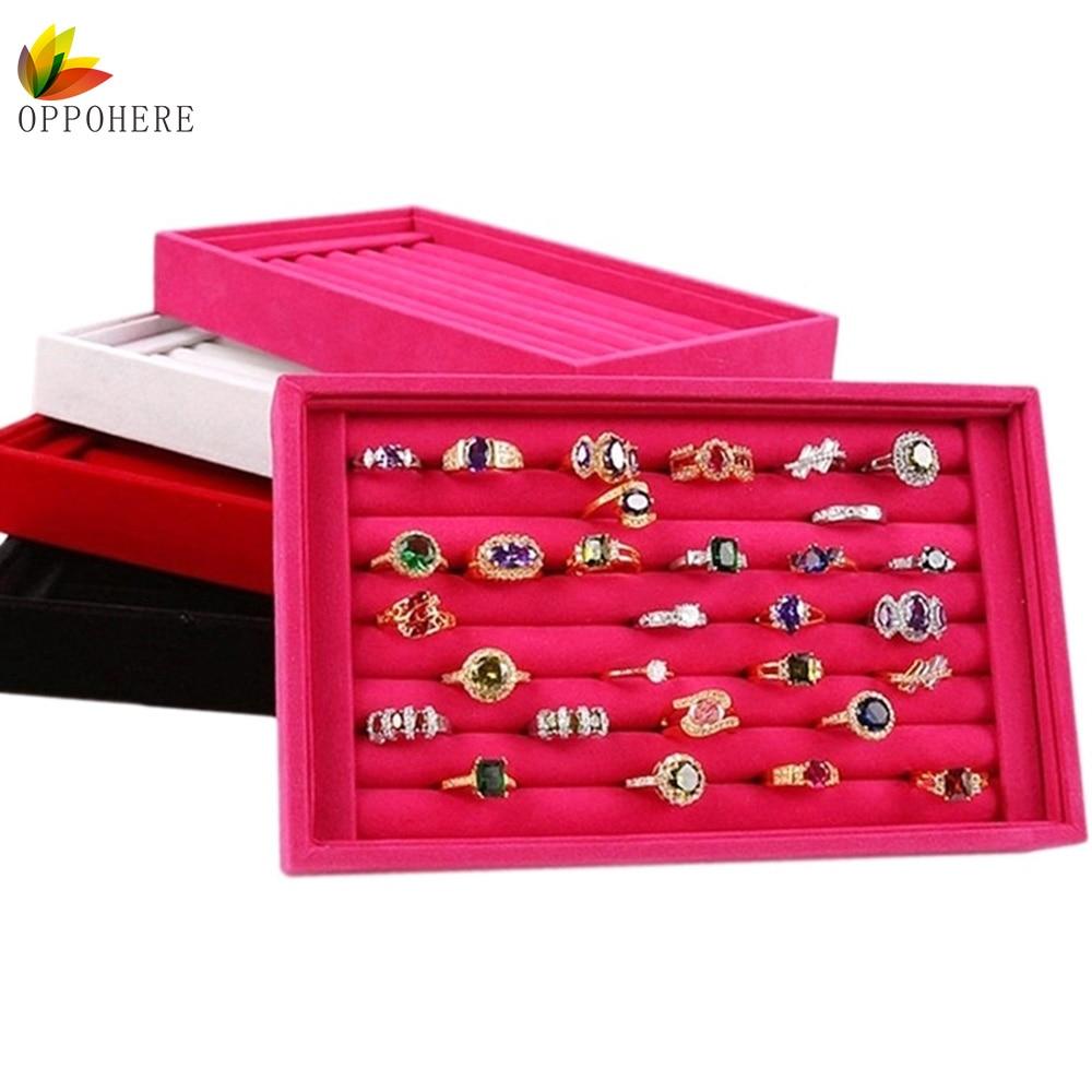Oppohere jewelry display velvet slots earring ring tray for Ring case