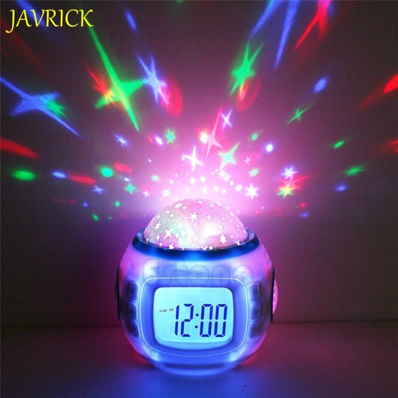 Sky Star Children Baby Room Night Light Projector Lamp Bedroom Music Alarm Clock Color Change Multi-function Glowing Alarm Clock