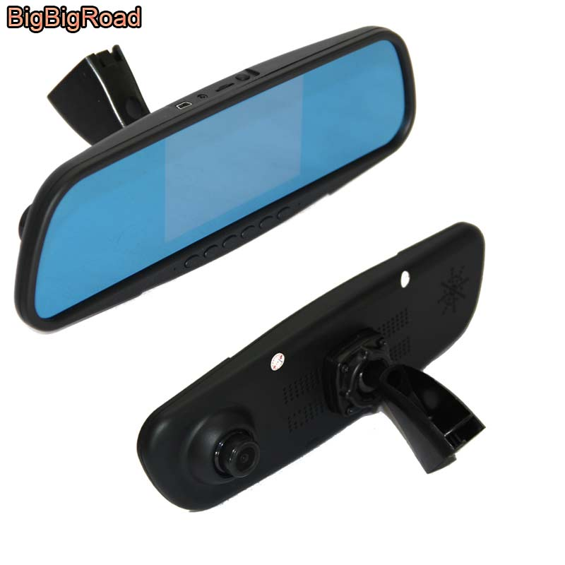 BigBigRoad For honda fit 2014 Car Blue Screen front mirror DVR + rear view camera driving video recorder parking monitor