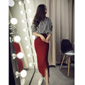 2015 Autumn Brand New High Quality Fashion Warm Solid Color Knitted Tight Split Pencil Knit Skirts Women Winter Long Skirts