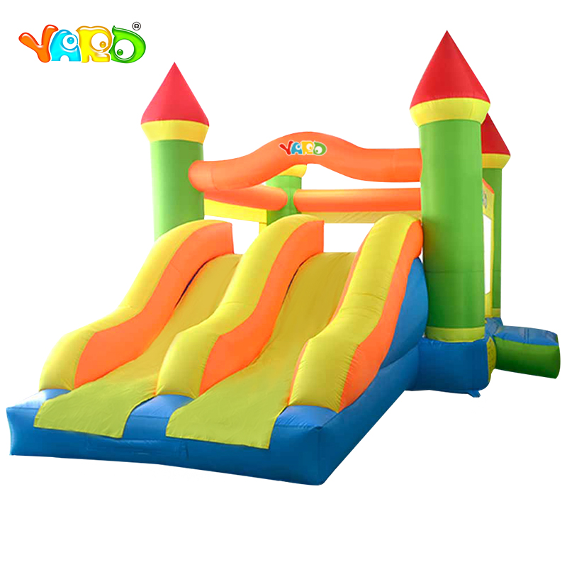 YARD Inflatable Trampoline Castle Double Slides Inflatable Bouncer Bouncy Castle Jumping Castle Kids Bounce House With Blower yard inflatable jumper bouncy castle nylon bounce house jumping house trampoline bouncer with free blower for kids