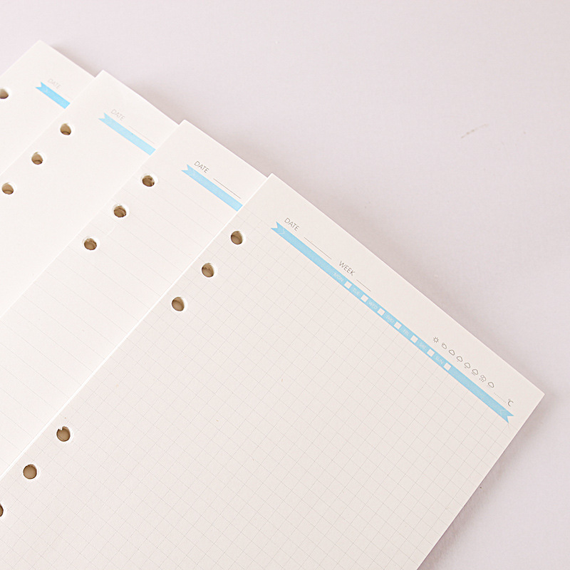 40 sheets beige a5 a6 paper filler for ring binder,  check/plaid/dots/blank/ruled papers 6 holes