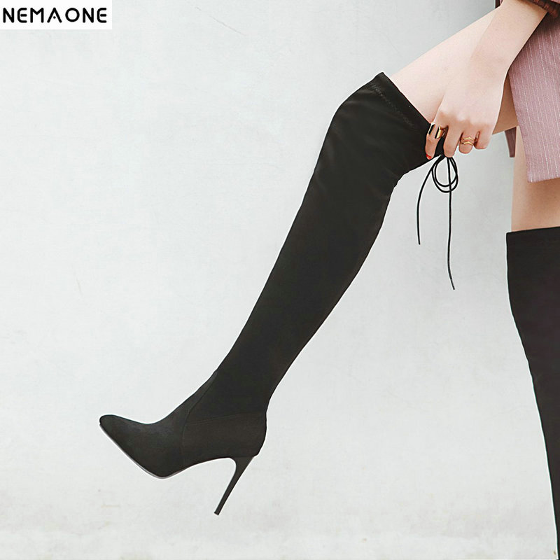 NemaoNe New Women boot fashion Suede Women Over The Knee Boots Lace Up Sexy High Heels Shoes Woman Slim Thigh High Boots 35-43 mudibear women fux suede thigh high boots fashion over the knee boot stretch flock sexy overknee high heels woman shoes red