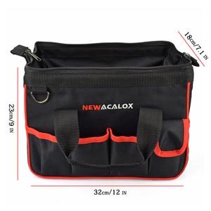 """Image 5 - NEWACALOX 12 """"حقيبة أدوات صغيرة رشاقته الأجهزة المهنية كهربائي إصلاح تخزين العمل حقيبة حامل 600D إغلاق أعلى واسعة الفم"""