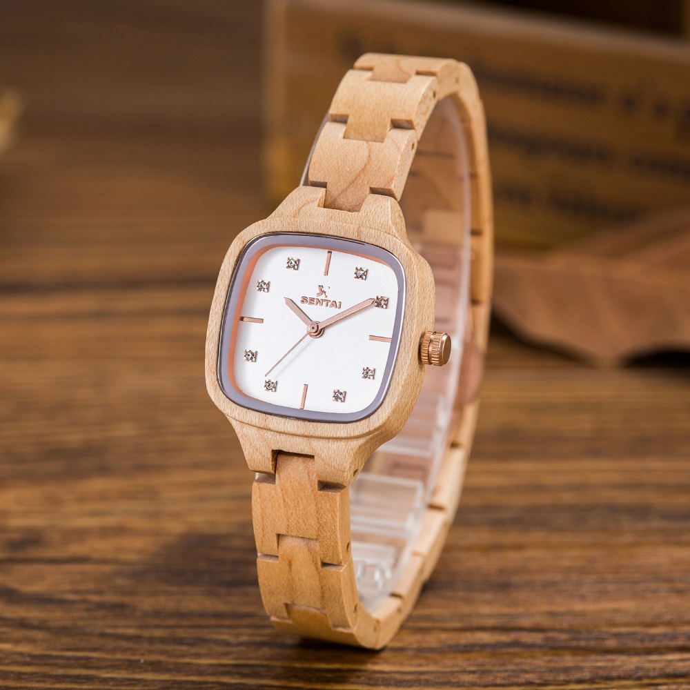 Luxury Fashion women`s Watches SENTAI Brand Handmade Wooden Women Quartz Watch Wood Case Retro Wrist Watch Valentine's Day Gifts
