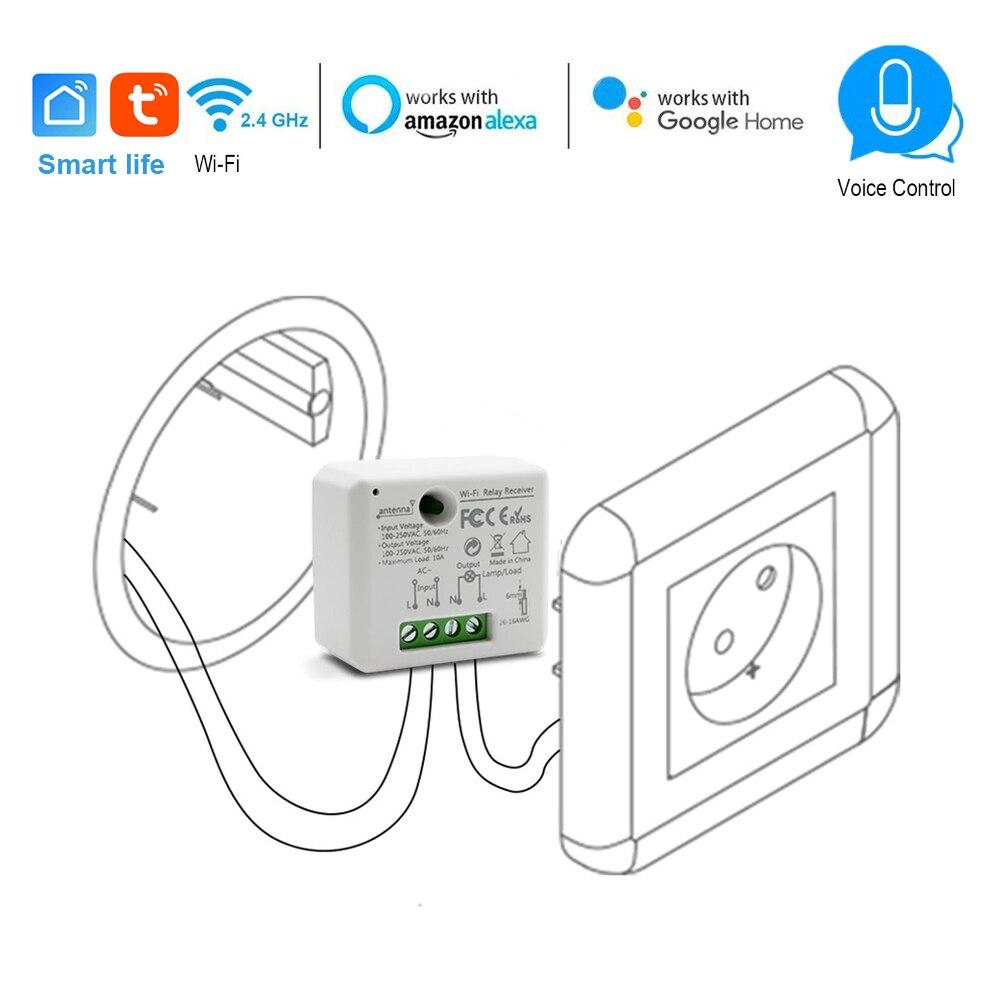 Wifi Smart Socket commutateur module 110 240V 2500W contrôleur minuterie interrupteur commande vocale prise en charge Alexa Google IFTTT App vie intelligente
