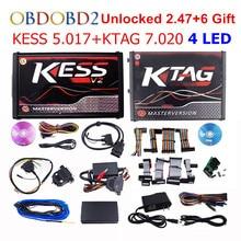 Онлайн мастер KESS V5.017 V2.53 + 4 светодиодный KTAG V7.020 V2.23 без маркера KESS 5,017 + K TAG K Tag 7,020 4 светодиодный Программист ECU DHL бесплатно