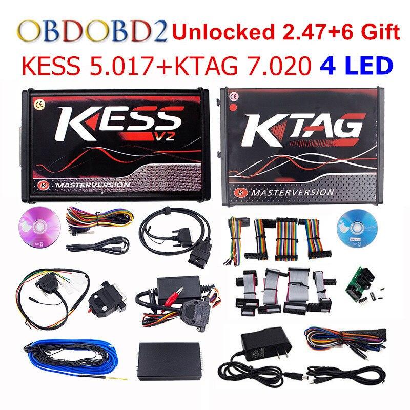 On-line Maestro KESS V5.017 V2.47 + 4 LED KTAG V7.020 V2.23 No Token KESS 5.017 + K-TAG K Tag 7.020 4 LED ECU Programmatore DHL di Spedizione