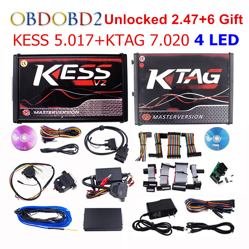Online Master KESS V5.017 V2.53 + 4 LED KTAG V7.020 V2.23 No Token KESS 5.017 + K-TAG K Tag 7.020 4 LED ECU Programmer DHL Free