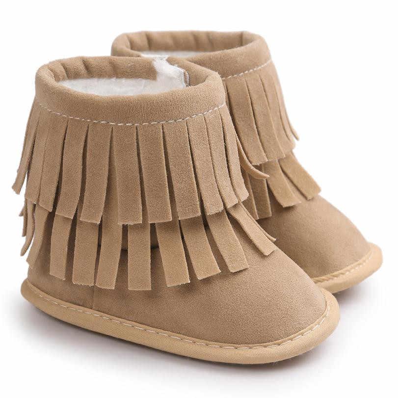Детские Утепленная одежда двухслойные брюки с кисточками на мягкой подошве для снежной погоды; полусапожки с мягкой детский пинетки для младенцев; детские ботинки обувь для новорожденных;