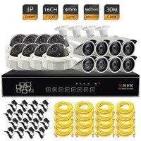 16ช่องระบบรักษาความปลอดภัย16CH NVR 720จุดเครือข่ายIPกล้องHD 1MP ONVIF 4มิลลิเมต