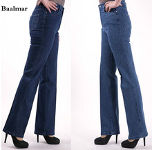 2017 Fashion Women s Straight Jeans Mid Waist Blue Solid Denim Pants Female Classic Loose Legs