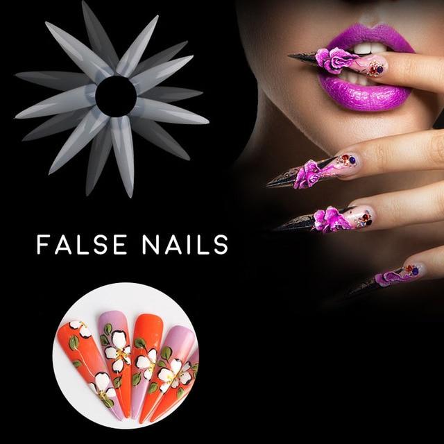 Nueva nail art extremidades falsas 500 unid sharp de aguja larga 4.9 ...