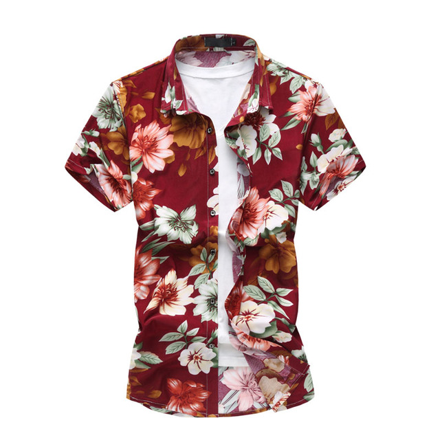 7971c1e6 Men Clothing Summer Fashion Short Sleeve Men's Shirts Cotton Beach Men Red  Flower Shirt Big Size 4XL 5XL 6XL Hawaii Shirt