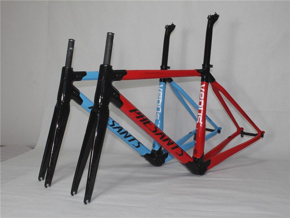 2019 PHESANTS VENUS Black Blue/Black Red T800 Carbon Fiber Road Bicycle Frame Race Bike Carbon Frame Two Years Warranty