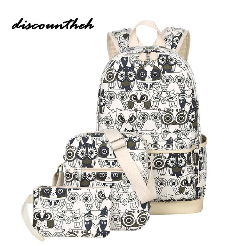 3pcs Set Backpack Women Animal Owl Printing Backpack Canvas Bookbags School Backpacks Bags For Teenage Girls