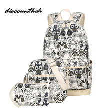 3 шт./компл. рюкзак Для женщин животных Сова печати рюкзак холст школьные портфели Рюкзаки Сумки для подростков Обувь для девочек Bagpack backbag