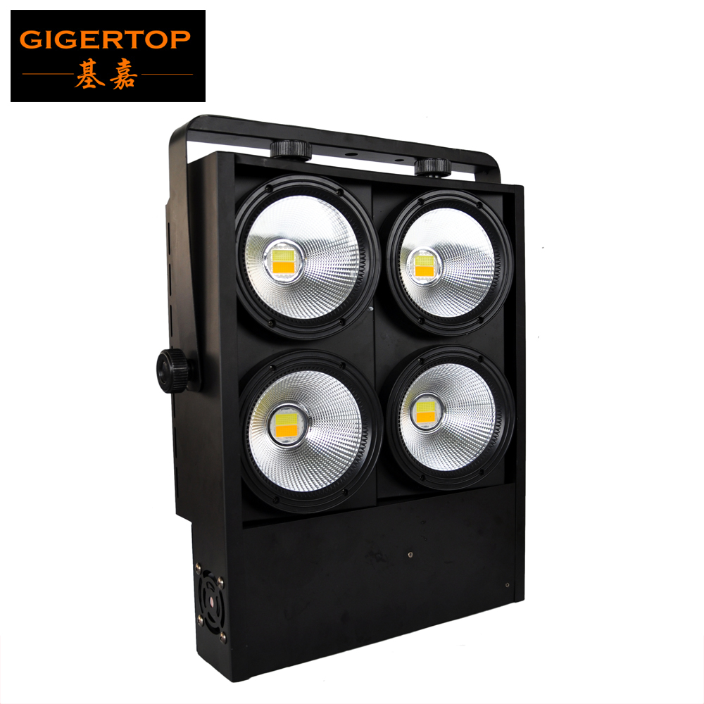 Gigertop 400W Stage Cob Led Audience Light Cold Warm White Projector Angle Adjustable Big Reflector Cup 3 Mode High Matrix Light splicing 2 light led blinders with 100w led cob x2 amber cold white color for audience blinding color warm