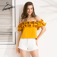 Gracegirl 2017 Summer Casual Women Tops Series Spring Fashion Strap Ruffles Slim Slash Neck Sexy Blouse
